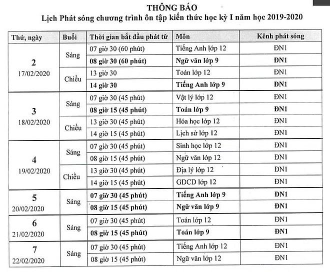 Lịch học trực tuyến tạị Đồng Nai.