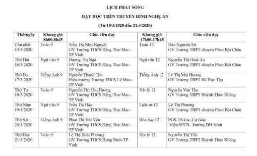 Lịch học trực tuyến tạị Nghệ An.