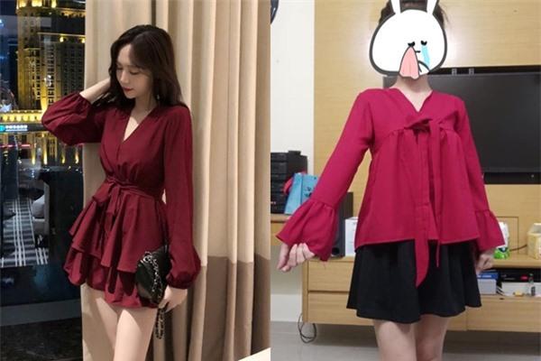 Chiếc váy mà cô gái đặt trên mạng và sản phẩm nhận được khác xa nhau.