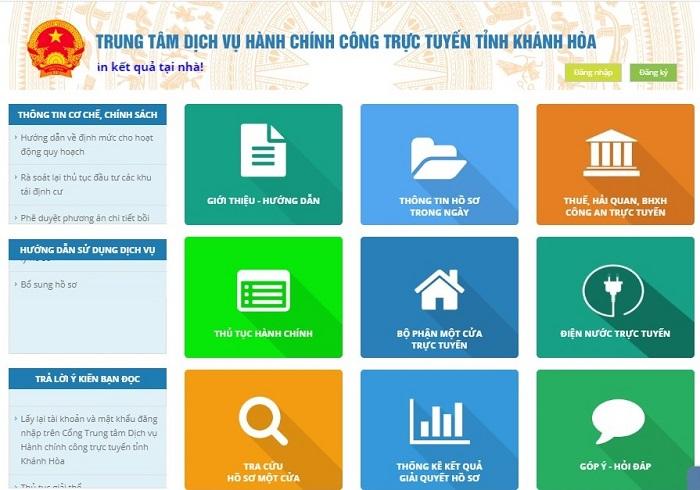 Cổng trung tâm dịch vụ hành chính công trực tuyến của tỉnh Khánh Hoà