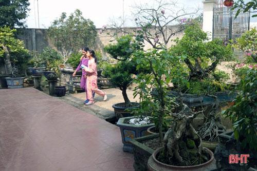 """Giới chơi cây cảnh cho rằng, nếu đứng trên triền đê La Giang nhìn vào khu vườn của gia đình ông Vũ thì chẳng khác nào đây là khu vườn """"thượng uyển""""."""