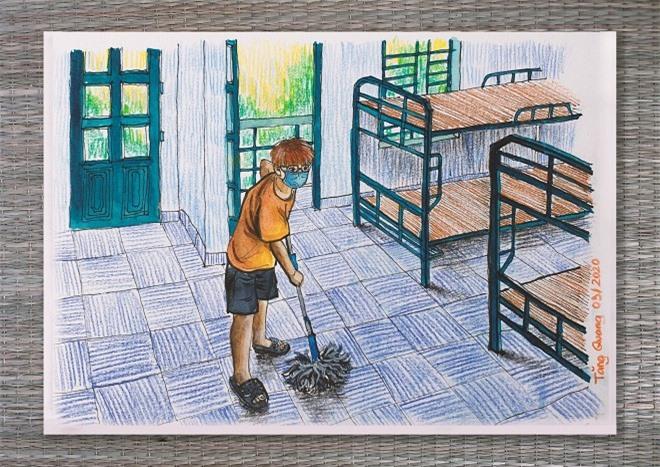 du học sinh Anh vẽ khu cách ly 8