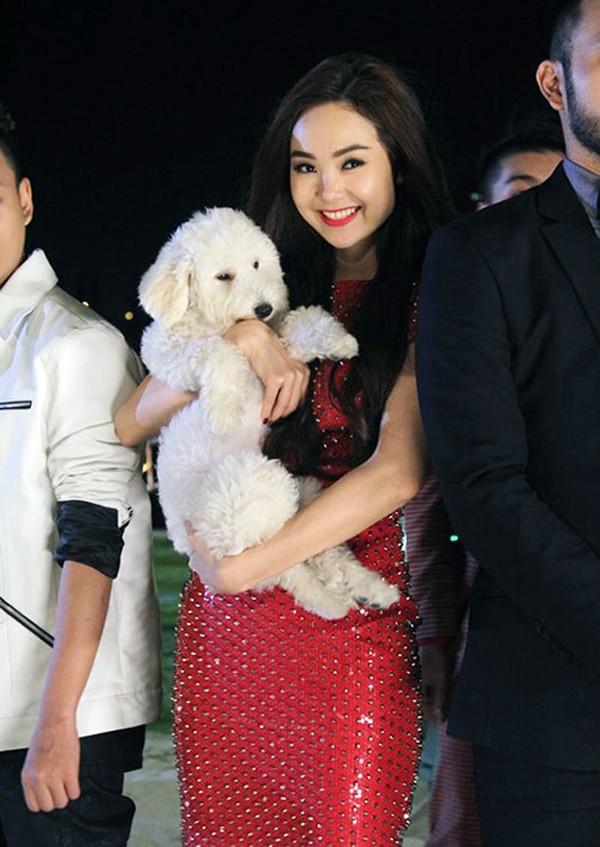 Là một mỹ nhân rất yêu mến thú cưng, Minh Hằng luôn bồng bé Santa theo dù là tham gia các sự kiện xa xỉ.