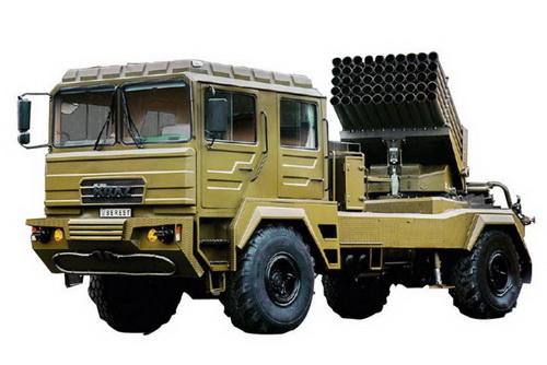 Xe mang phóng tự hành của tổ hợp pháo phản lực phóng loạt BM-21UM Berest do Ukraine chế tạo. Ảnh: Jane's Defense Weekly.