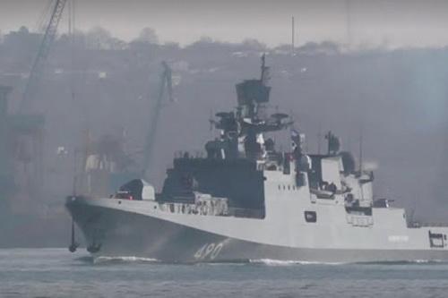 Tàu hộ vệ tên lửa Đô đốc Grigorovich - Dự án 11356M của Hải quân Nga. Ảnh: TASS.