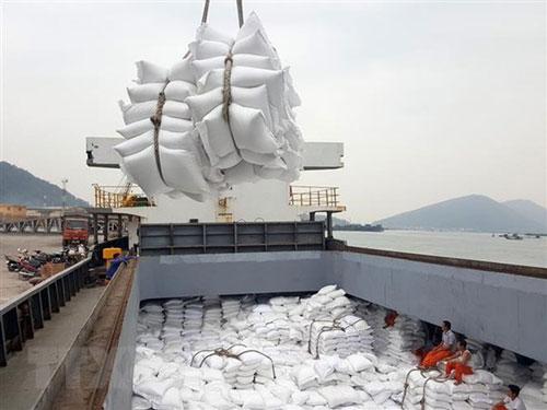 Bốc xếp gạo xuất khẩu tại cảng Cửa Lò (Nghệ An). (Ảnh: TTXVN)