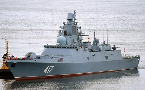 Khinh hạm Đô đốc Gorshkov Dự án 22350 tiếp tục được sử dụng làm nền tảng phóng tên lửa 3M22 Zircon. Ảnh: TASS.