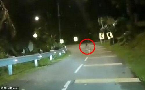 """""""Dựng tóc gáy"""" trước cảnh người lái xe ghi được hình ảnh """"bóng ma"""" ngồi trên đường"""