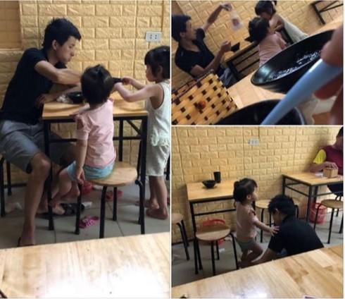 Người đàn ông dẫn 2 con đi ăn chè để cho vợ ở nhà nghỉ ngơi.
