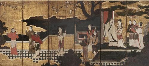 Đường Minh Hoàng và Dương Quý phi, đứng trên sân thượng. Tranh vẽ bởi Kanō Eitoku (1543–1590). Ảnh: Wikipedia
