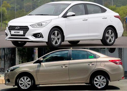 Hyundai Accent và Toyota Vios (dưới).