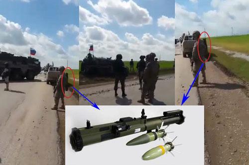 Lính Mỹ vác súng chống tăng chặn xe thiết giáp của Nga tại Syria