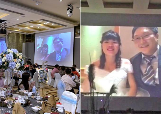 Cô dâu, chú rể chào hỏi và cảm ơn các quan khách tại tiệc cưới ở khách sạn M Hotel, Singapore, hôm 2/2. Ảnh: Shin Min Daily Chews.