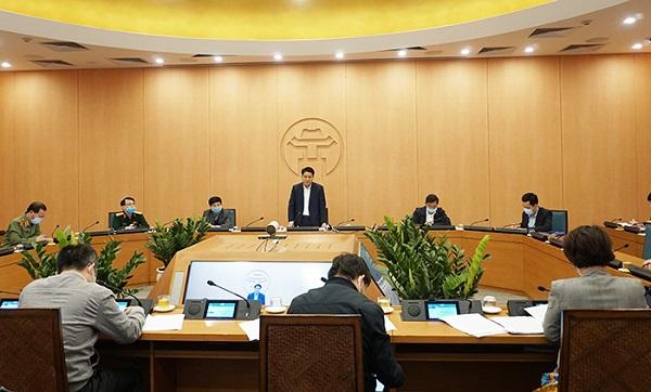 Chủ tịch Nguyễn Đức Chung chủ trì cuộc họp về tình hình và công tác chủ động phòng, chống dịch Covid-19 (Ảnh minh họa)