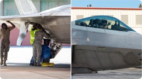 Phần thân bỏ bị bong tróc của F-22.