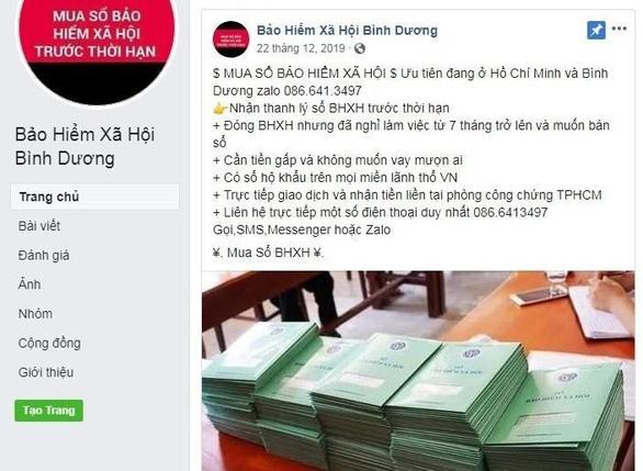 Một tài khoản Facebook giả danh Bảo hiểm xã hội tỉnh Bình Dương công bố thu mua nhiều sổ bảo hiểm của công nhân lao động - Ảnh chụp màn hình