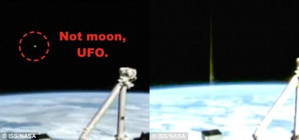 Chùm tia sáng đặc biệt xuất hiện ở nơi trước đó có vật thể được cho là UFO - Ảnh: ISS/NASA