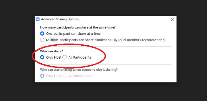 Chặn chức năng share màn hình (Ảnh chụp màn hình)