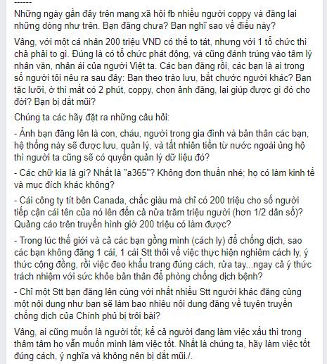Một facebooker đã cho rằng mọi người đang bị dắt mũi bởi A365