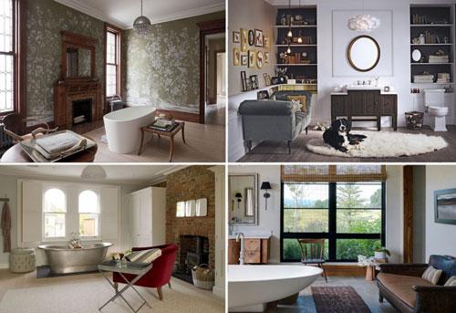Thêm chức năng cho mẫu nhà tắm đẹp đơn giản với bàn ghế, tủ sách.