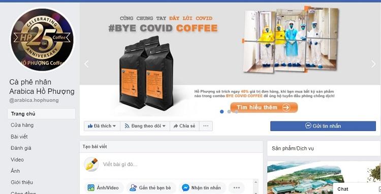 """Khách hàng mua bất kỳ sản phẩm cà phê rang xay nào trong combo """"Bye Covid Coffee"""" tại Hồ Phượng, công ty sẽ trích 40% giá trị đơn hàng để ủng hộ Quỹ phòng chống dịch Covid-19"""