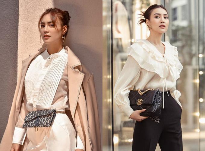 Dù không thường khoe tủ đồ hiệu, Lan Ngọc diện các mẫu túi hiệu trong ảnh street style hoặc đi sự kiện. Trong ảnh, chiếc ví Dior được cô đeo ngang hông, tạo nét nổi bật cho tổng thể. Người đẹp cũng khéo léo diện túi Chanel 19 Flap Bag phù hợp với áo sơ mi bèo và quần tây cạp cao.