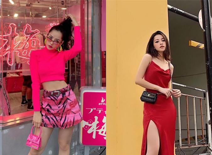 Chi Pu không ngại chi tiền cho những chiếc túi tí hon cũa Jacquemus, làm điểm nhấn cho trang phục. Túi Chanel đeo chéo chỉ đựng vừa điện thoại nhưng được cô ưu ái lựa chọn phối cùng đầm đỏ, tạo sự đặc biệt.