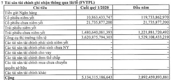 Nguồn: Báo cáo tài chính quý I của VPS