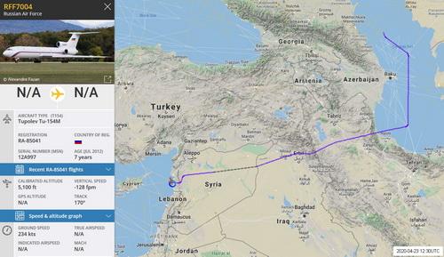 Tuyến đường bay vòng của chiếc chuyên cơ Tu-154 thuộc Bộ Quốc phòng Nga. Ảnh: Avia-pro.