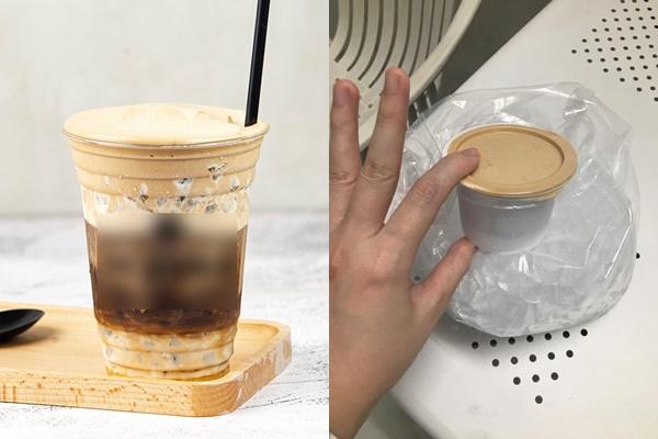 Ly cacao cà phê sữa bọt mà quán đăng tải và ly đồ uống mà cô gái nhận được.