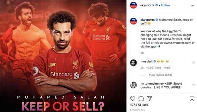 Câu hỏi của Sky Sports về tương lai của Salah ở Liverpool