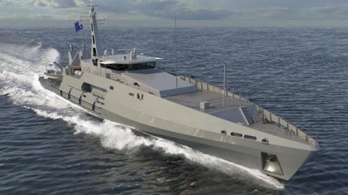 Đồ họa tàu tuần tra lớp Cape của Hải quân Hoàng gia Australia. Ảnh: Austal.