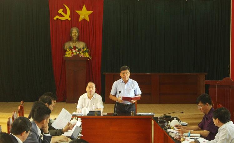 Bí thư Thành ủy Bảo Lộc Nguyễn Văn Triệu phát biểu tại buổi làm việc với Sở Thông tin và Truyền thông tỉnh Lâm Đồng về đề án xây dựng Bảo Lộc trở thành thành phố thông minh