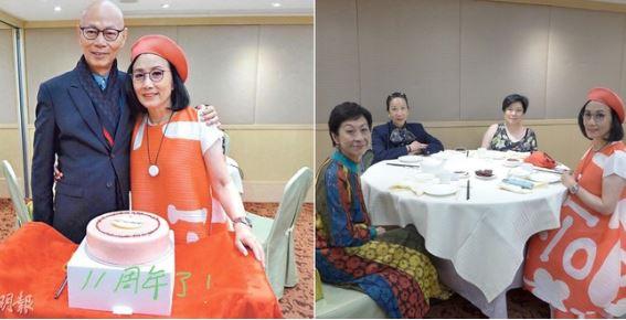 Uông Minh Thuyên và La Gia Anh trong tiệc kỷ niệm 11 năm cưới. Bữa tiệc của vợ chồng bà tuân thủ quy định phòng dịch, một bàn chỉ ngồi đúng 4 người.