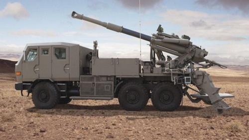Pháo tự hành bánh lốp ATMOS cỡ nòng 155 mm. Ảnh: Elbit Systems.