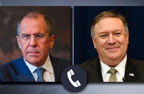 Ngoại trưởng Nga Sergey Lavrov (trái) và Ngoại trưởng Mỹ Mike Pompeo tiến hành cuộc điện đàm ngày 6/5. (Nguồn: List23)