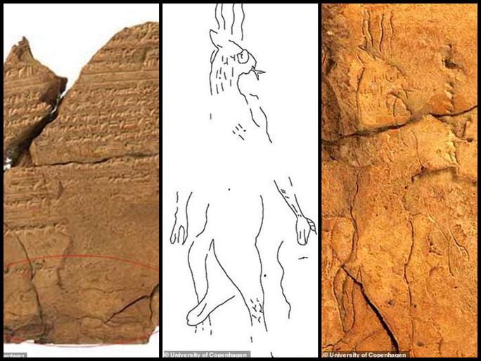 """""""Con quỷ"""" trên bản khắc đá và hình vẽ được các nhà khoa học phục dựng trên giấy (giữa) - Ảnh: UNIVERSITY OF COPENHAGEN"""