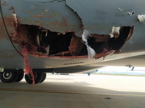 Thiệt hại trên chiếc vận tải cơ A400M Atlas của Không quân Tây Ban Nha sau vụ va phải chim. Ảnh: Defence Blog.