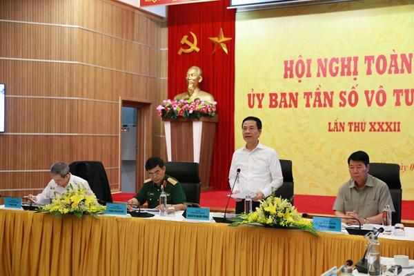 Bộ trưởng Nguyễn Mạnh Hùng phát biểu tại phiên họp Hội nghị Ủy ban Tần số quốc gia.