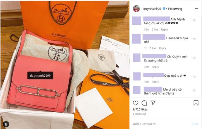 Hậu tin đồn hôn nhân lục đục, Quỳnh Anh sắm ngay túi Hermès trăm triệu, còn tag thẳng Duy Mạnh để khoe khéo - Ảnh 2.