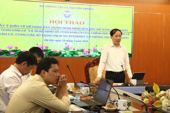 Thứ trưởng Bộ TT&TT Phạm Anh Tuấn phát biểu tại hội thảo lấy ý kiến sửa đổi Nghị định 72. Nguồn ảnh: MIC