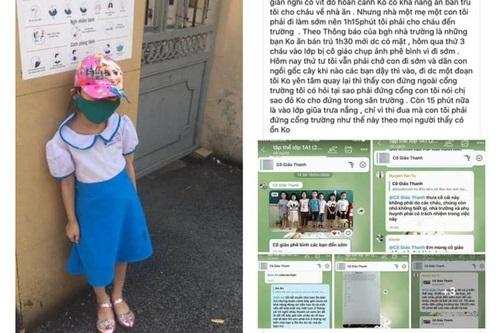 Hình ảnh cháu bé lớp 1 đi học sớm phải đứng cổng trường, bị cô giáo chụp hình phê bình. Ảnh: MXH