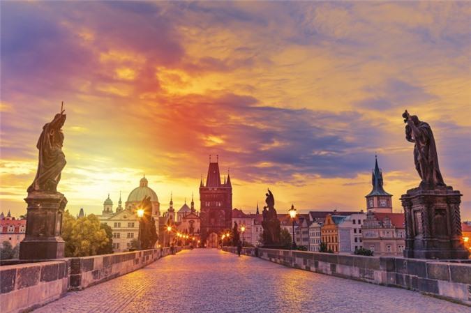 View of Charles Bridge in Prague during sunset, Czech Republic. The world famous Prague landmark.