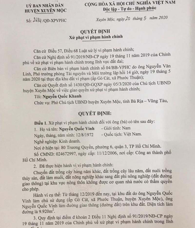 Quyết định xử phạt hành chính đối với ông Nguyễn Quốc Vinh của UBND huyện Xuyên Mộc.
