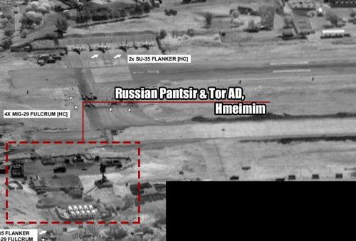 Bức không ảnh do máy bay trinh sát Mỹ chụp căn cứ Hmeimim của Nga. Ảnh: Avia-pro.