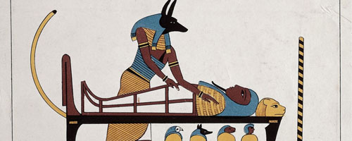 Hình ảnh thần Anubis với thân người, đầu chó rừng bên cạnh một xác ướp. Ảnh: Wikimedia Commons