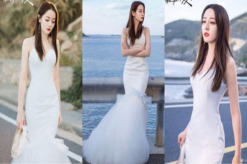 Địch Lê Nhiệt Ba xinh đẹp khi mặc váy cưới.
