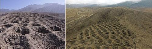 Pisco (Peru): Được tìm thấy ở khu vực khô cằn gần thung lũng Pisco, hàng nghìn lỗ hình nón đã được chạm khắc vào đá bởi những bàn tay bí ẩn, trải dài khoảng 1,5 km và rộng 20 m. Một số người đưa ra giả thuyết rằng các lỗ được sử dụng làm nơi đựng thực phẩm hoặc để chôn cất. Tuy nhiên, một số hố sâu 2 m dường như không được sử dụng làm nơi lưu trữ cho thực phẩm hoặc cơ thể người chết. Không chiếc răng hay mảnh vỡ nào được tìm thấy trong lỗ hổng. Ý kiến khác đưa ra lỗ hình nón được hình thành bởi vụ nổ. Các tàn tích và những cuộc khai quật không mang lại kết quả gì.
