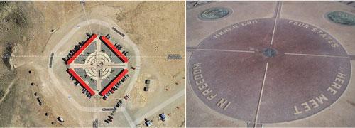 Four Corners (Mỹ): Năm 2003, vệ tinh đo metan đã tìm thấy đám mây bằng khí này khi đi qua Four Corners ở Mỹ. Nằm giữa sa mạc thuộc khu dành riêng cho người bản địa Mỹ (Navajo Indian Reservation), Four Corners là ranh giới giữa các bang Arizona, Colorado, New Mexico, Utah. Nơi nào đó đã giải phóng lượng khí metan bằng 10% lượng khí thải metan hàng năm ở Mỹ. Điều này tiếp tục diễn ra trong 6 năm sau đó dừng lại một cách bí ẩn. Cho tới nay, hiện tượng này chưa được giải thích thỏa đáng.