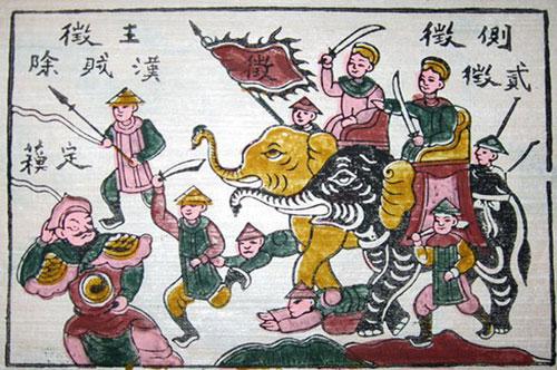 Tranh Đông Hồ tưởng nhớ chiến công của Hai Bà Trưng.